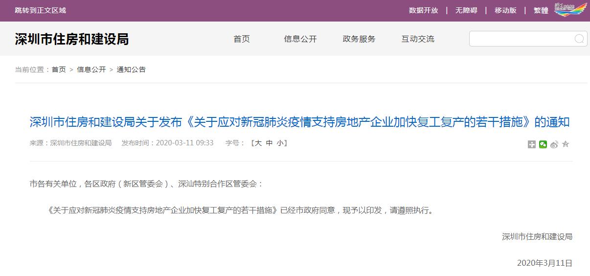 转发:深圳市住房和建设局关于发布《关于应对新冠肺炎疫情支持房地产企业加快复工复产的若干措施》的通知